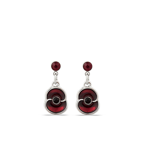 Stone and Enamel Poppy Mini Drop Earrings