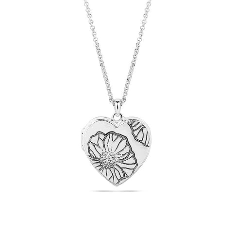 Poppy Floral Disc Heart Locket