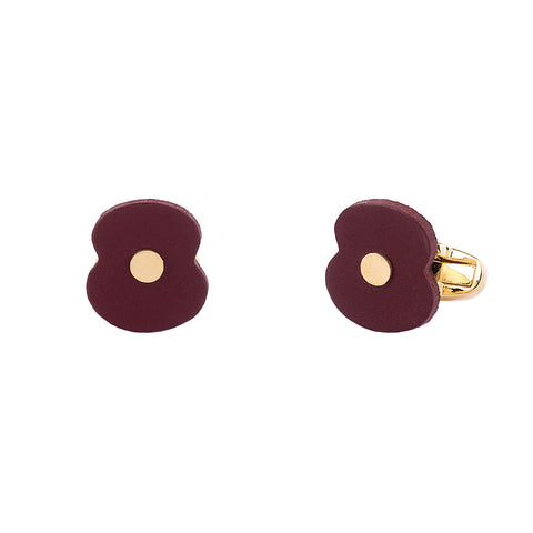 Leather Poppy Cufflinks