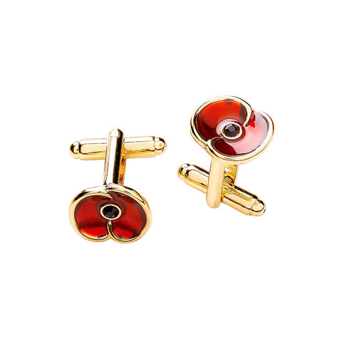 The Poppy Collection ® Enamel Cufflinks Gold Tone