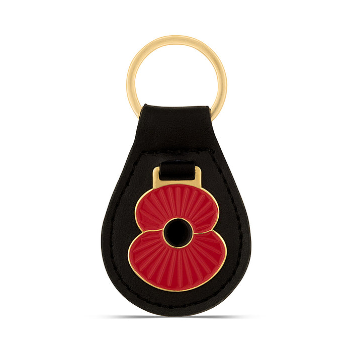 Ridge Poppy Leather Key Fob