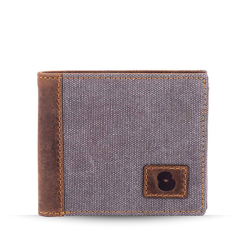 Grey Canvas and Leather Wallet