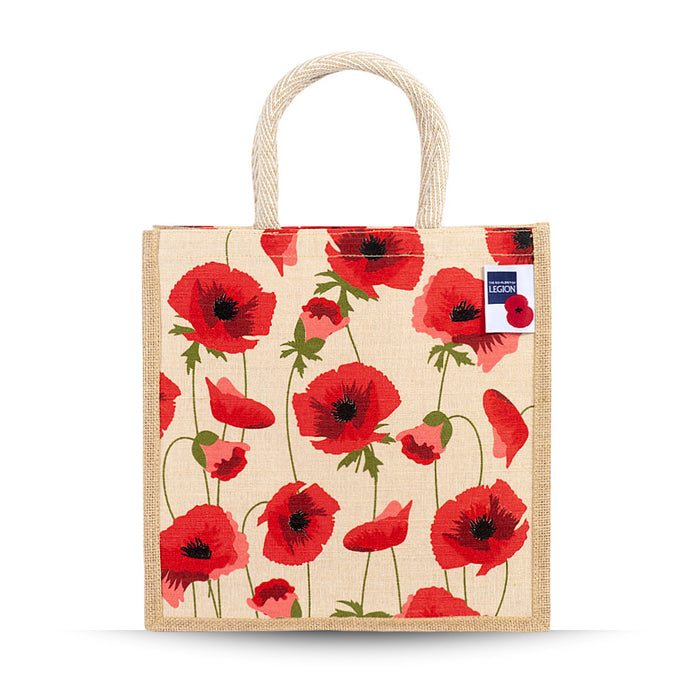 Tumbling poppies Jute and Juco Bag
