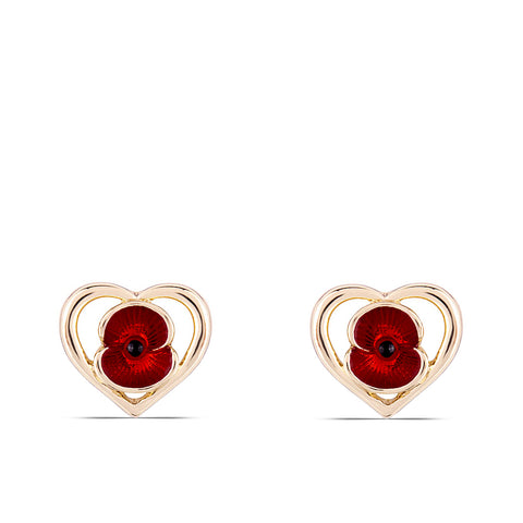 Heart Poppy Earrings Gold Tone