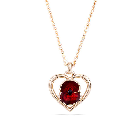 Heart Poppy Necklace Gold Tone