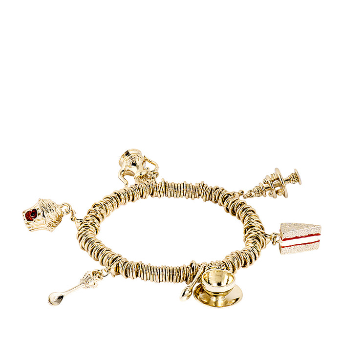 Tea Party Gold Tone Charm Bracelet