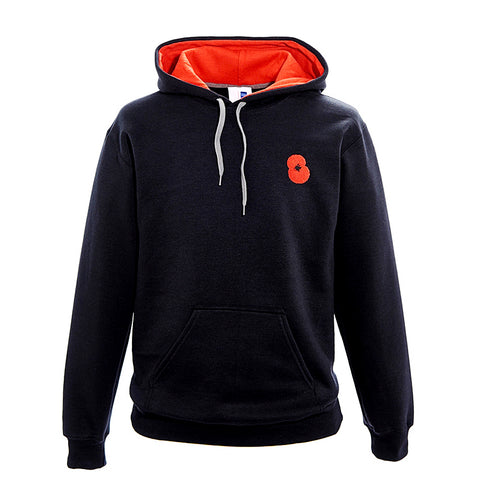 Black Embroidered Poppy Hoodie