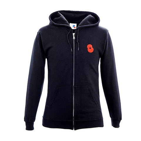 Black Embroidered Poppy Zipped Hoodie