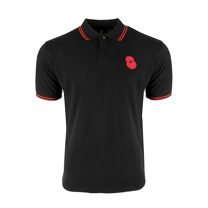 Poppy Embroidered Black Polo Shirt