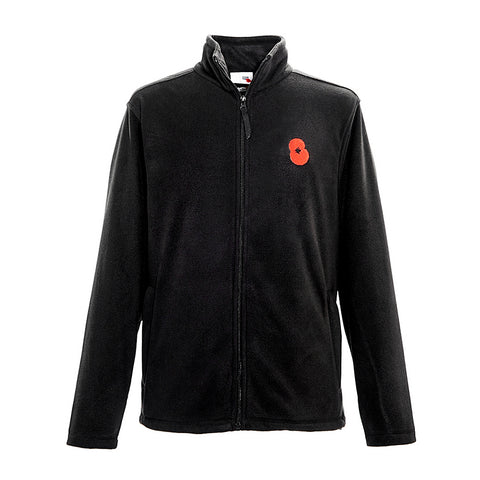 Black Embroidered Poppy Fleece