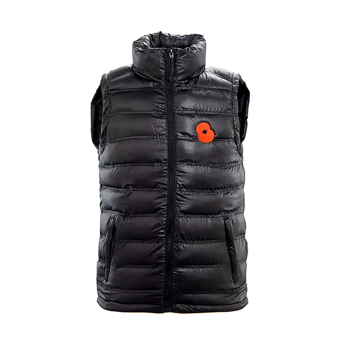 Black Embroidered Poppy Gillet