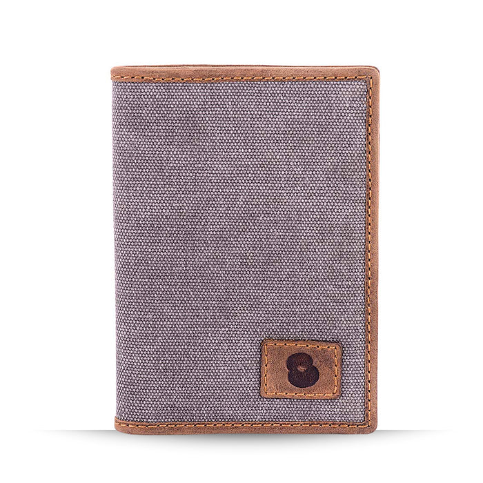 Grey Canvas and Leather Passport Cover