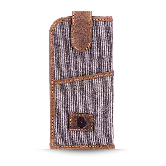 Grey Canvas and Leather Glasses Case