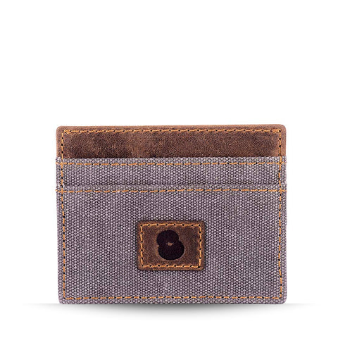 Grey Canvas and Leather Card Holder
