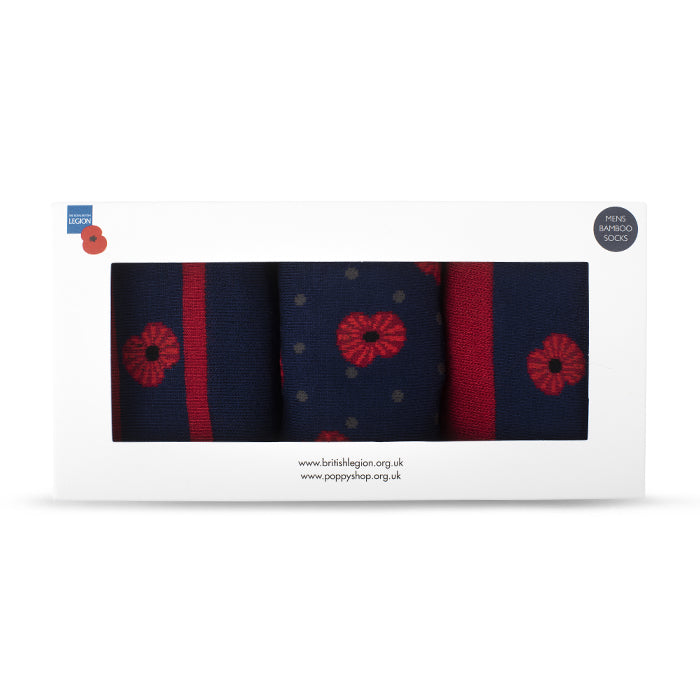 Poppy and Spot Bamboo Socks Set of 3 in Gift Box