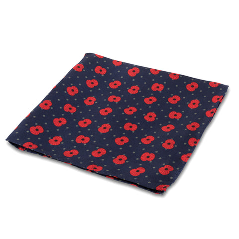 Poppy and Spot Silk Pocket Square