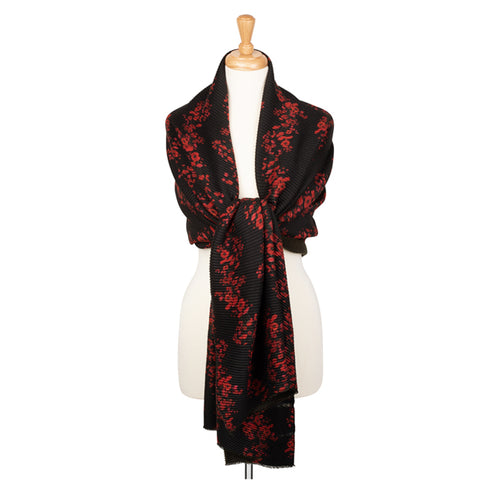 Lesley Sharp Trailing Poppies Pleat Scarf