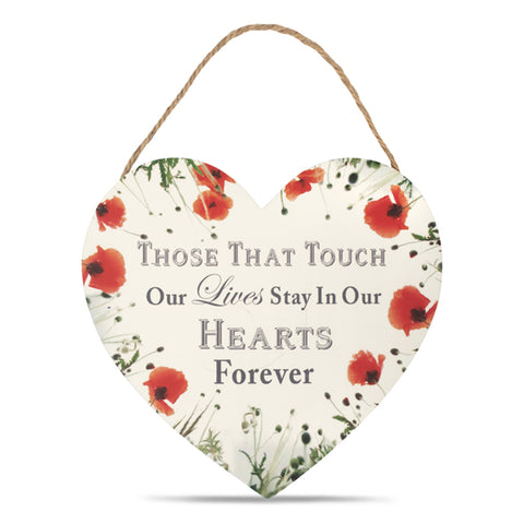 Wild Poppy Hearts Forever Hanging Plaque 14cm