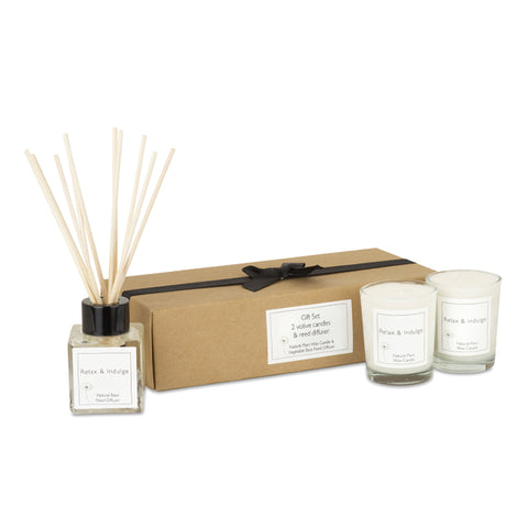 Relax & Indulge Candle with Diffuser Set with Gift Box & Bow