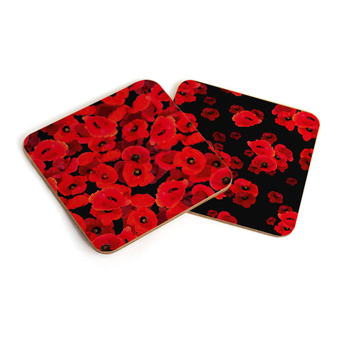 Floating Poppy Set of 4 Coasters