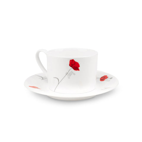 Silk Screen Fine Bone China Cup & Saucer