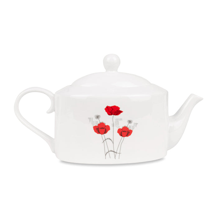 Silk Screen Fine Bone China Teapot