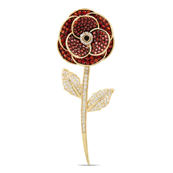Double Layer Crystal Poppy Brooch Gold Plated