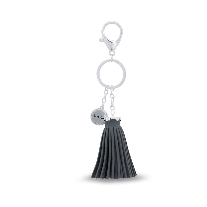 Leather Tassel and Live On Disc Key Ring