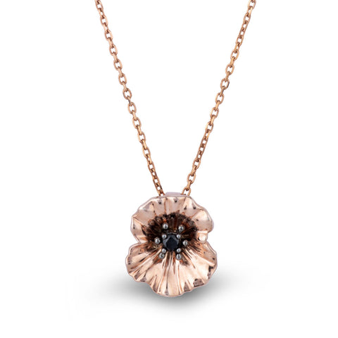 Rose Gold Poppy Petal Necklace