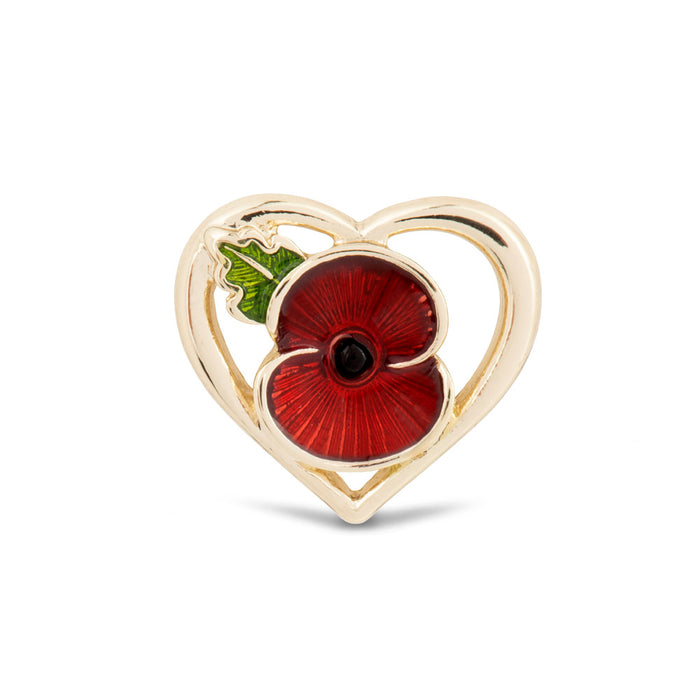Heart Poppy with Leaf Pin Gold Tone