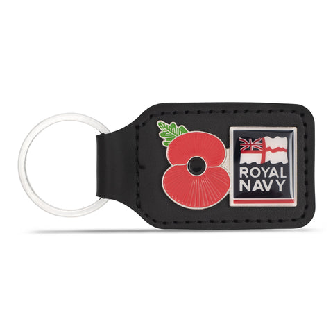 Royal Navy Leather Tab Keyring