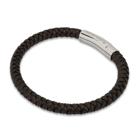 Engraved Lest We Forget with Poppy Brown Leather Cord Bracelet