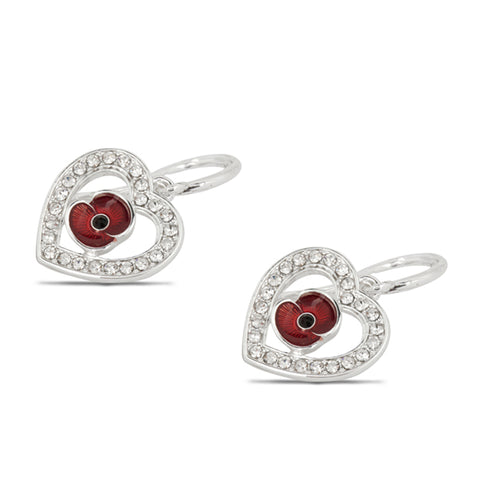 Poppy Crystal Heart Drop Earrings