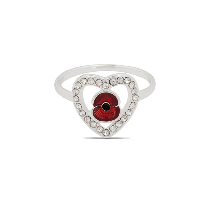 Poppy Crystal Heart Ring