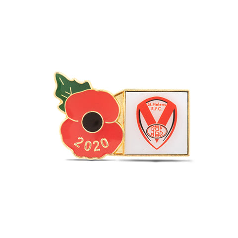 Liverpool St Helens Poppy Rugby Pin 2020