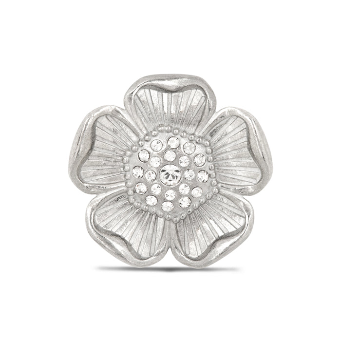 British Pewter Poppy Pin with Crystal