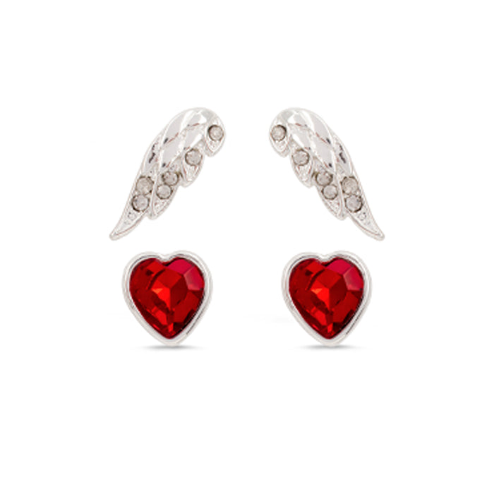 Jackie Moggridge Crystal Heart Set of 2 Earrings