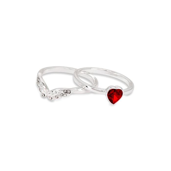 Jackie Moggridge Crystal Heart 2 Set Ring