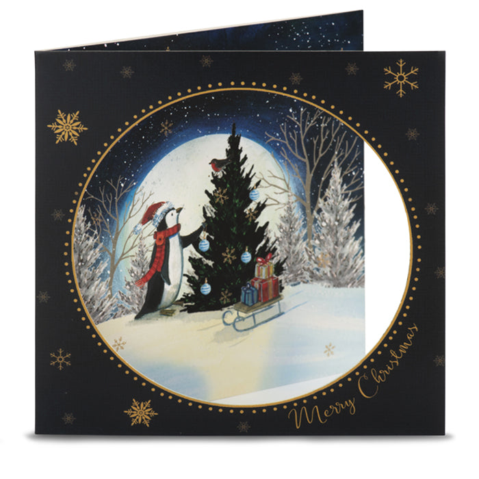 Penguin in the Moonlight Christmas Cards