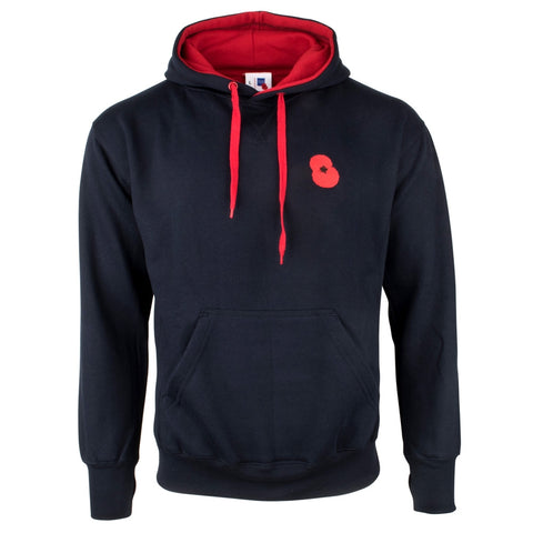 Embroidered Poppy Navy Hoodie