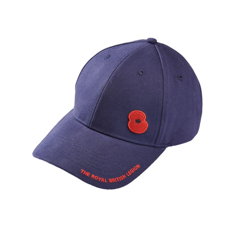 Navy Poppy Embroidered Cap