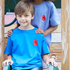 Royal Blue Kids Embroidered Poppy T-Shirt