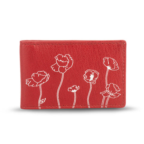 Red Leather Poppy Travel Wallet