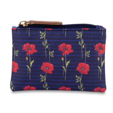 Blue Striped Poppy Coin Purse