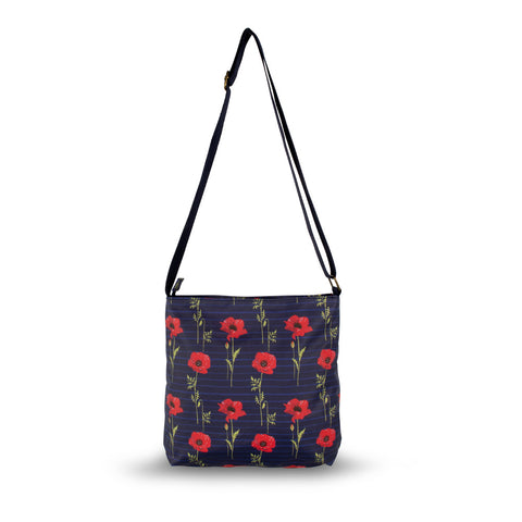 Blue Striped Poppy Cross Body Bag