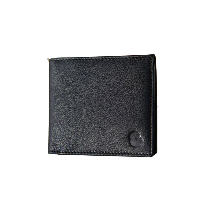 Black Leather Embossed Poppy Wallet