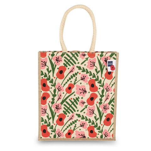 Floral and Fern Jute & Juco Bag