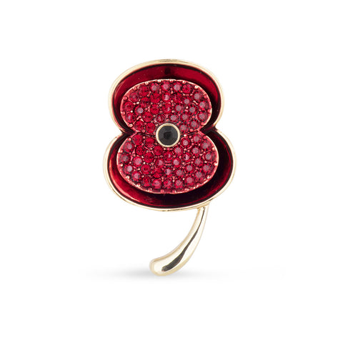 The Poppy Collection ® Enamel & Stone Poppy Brooch Gold Medium