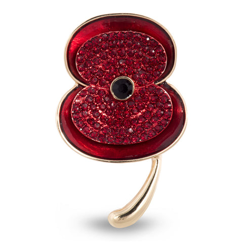 The Poppy Collection® Enamel & Stone Poppy Brooch Gold Large