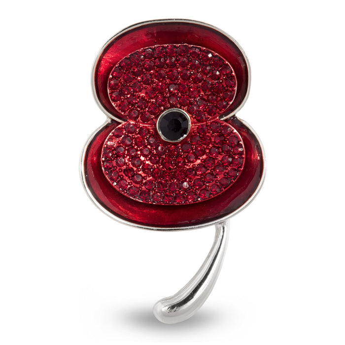 The Poppy Collection ® Enamel & Stone Poppy Brooch Silver Large